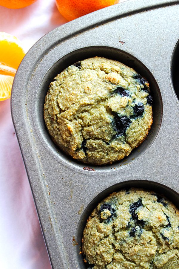 Small blueberry muffins in a tray