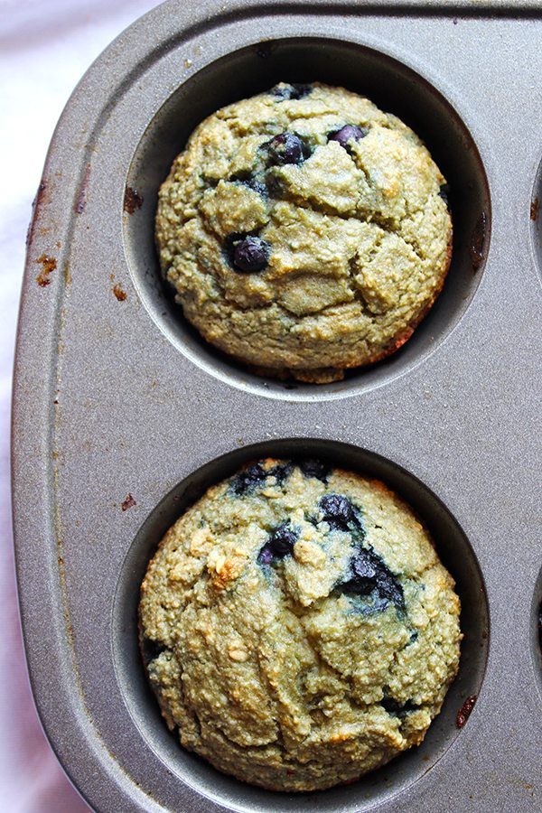 Gluten-Free Blueberry Muffins in tray