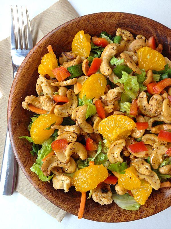 Thai Chicken Salad in wooden bowl