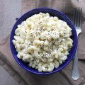 white cheddar mac and cheese in bowl