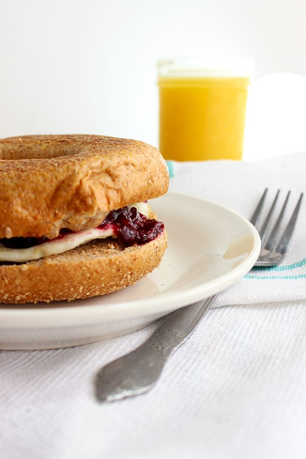 Peanut Butter and Jelly Breakfast Bagel - Yummy!