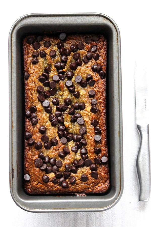 golden brown banana bread with chocolate chips
