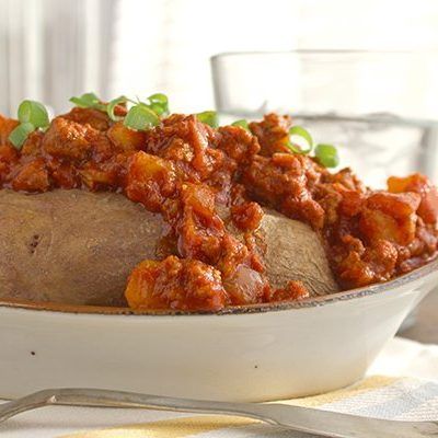Chili Topped Sweet Potatoes