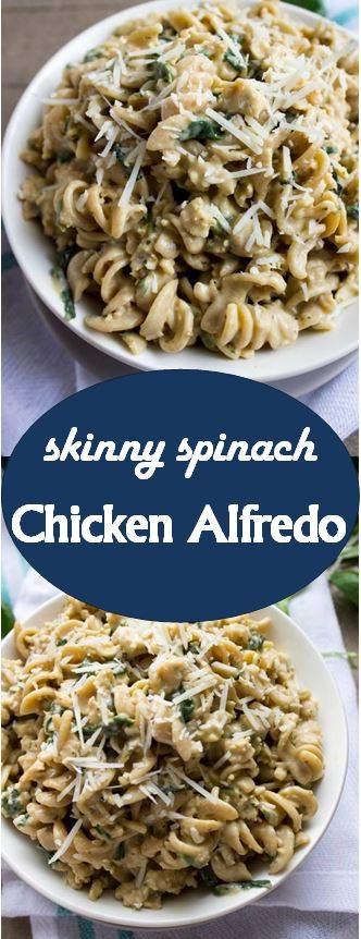 Skinny Spinach Chicken Alfredo