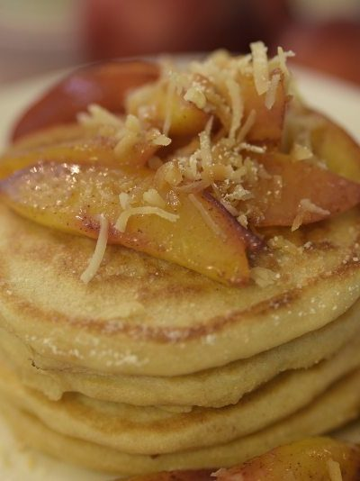 Peach and Toasted Coconut Pancakes