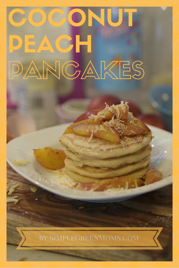 Peach Coconut seltzer pancakes by simplegreenmoms.com