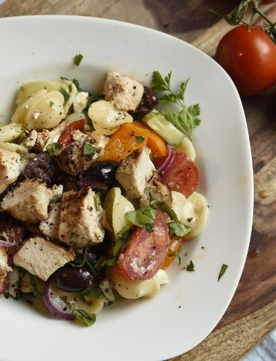 Greek Pasta Salad with Grilled Chicken