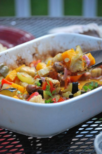 Roasted Summer Veggies and Sausage