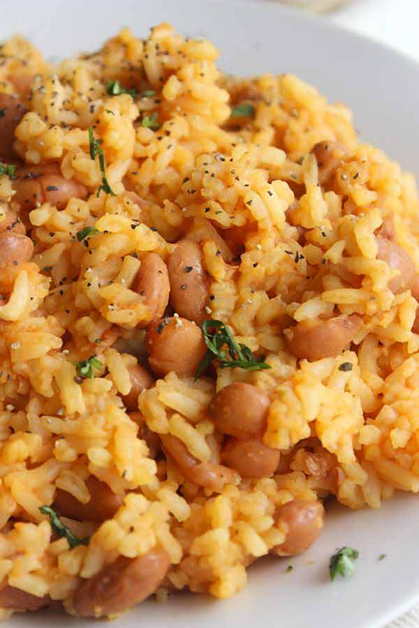 Authentic Mexican Rice and Beans on plate
