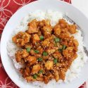 Sweet and sour chicken slow cooker on white plate