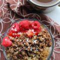 No bake granola, raspberry and greek yogurt parfait