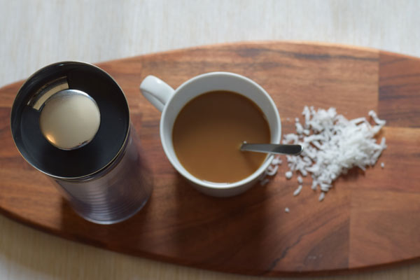 Pressed coconut coffee