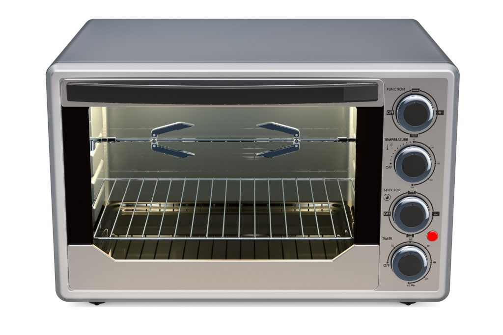 counter top convection toaster oven in silver