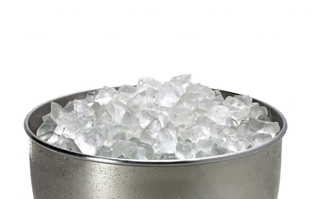 best portable ice machine filled with ice cubes