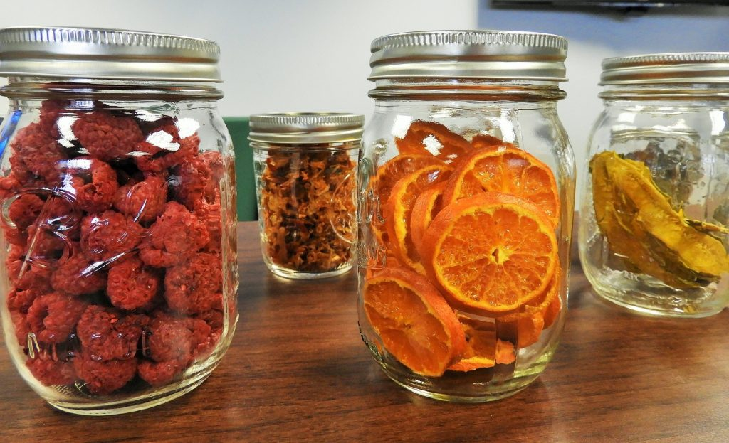 Dehydrated fruit in mason jars from food dehydrator