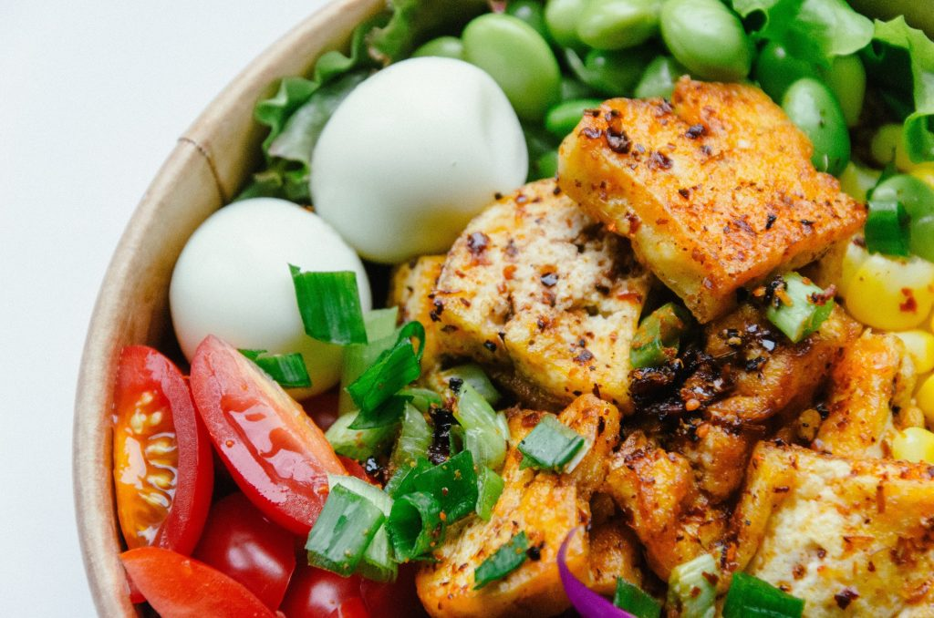 tofu grilled in bowl with eggs