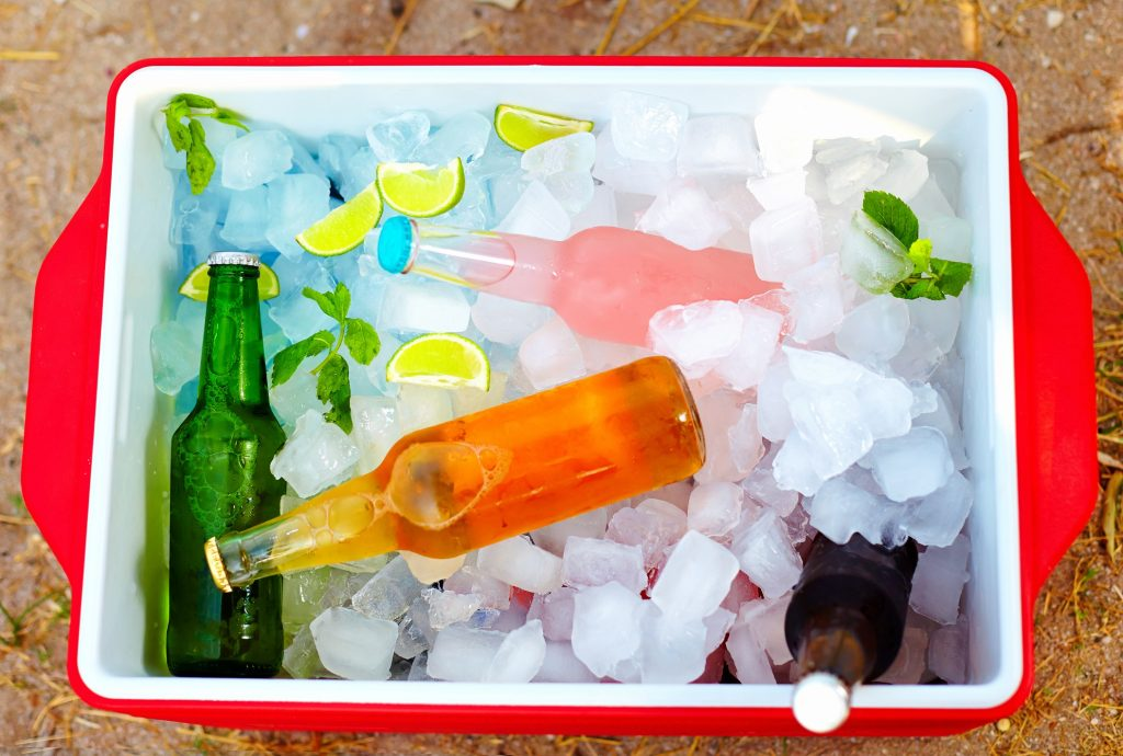 chilled beverages in portable ice maker