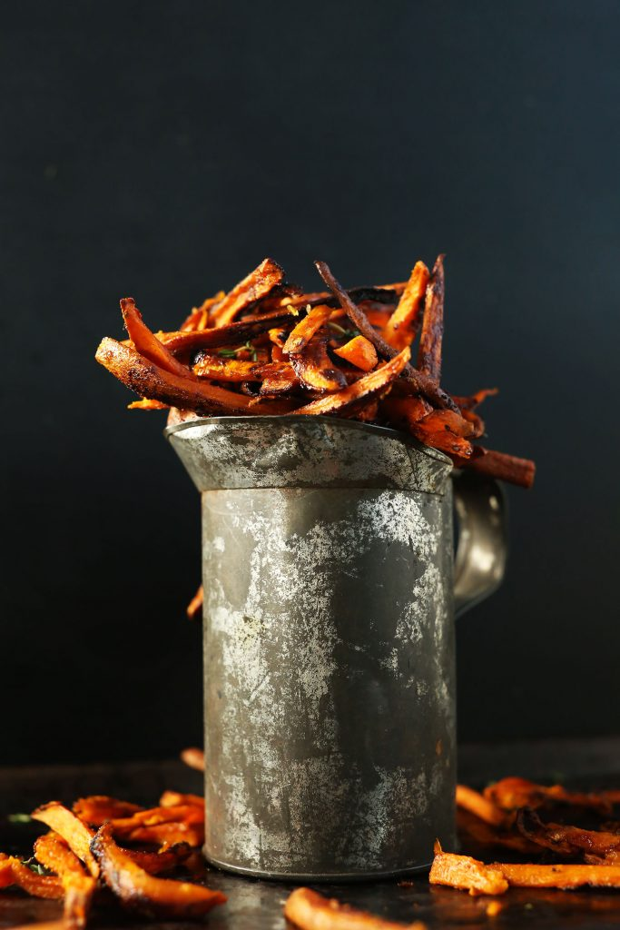 sweet potato fries in tin mug