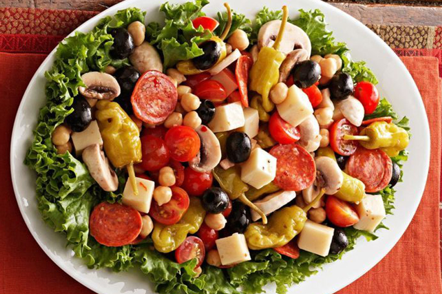Antipasto Platter on table with spoon