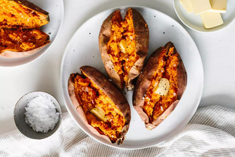 baked sweet potatoes on white plate