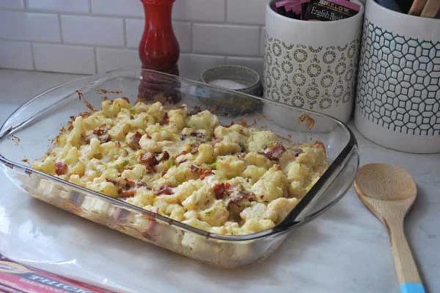 cauliflower casserole in glass baking dish