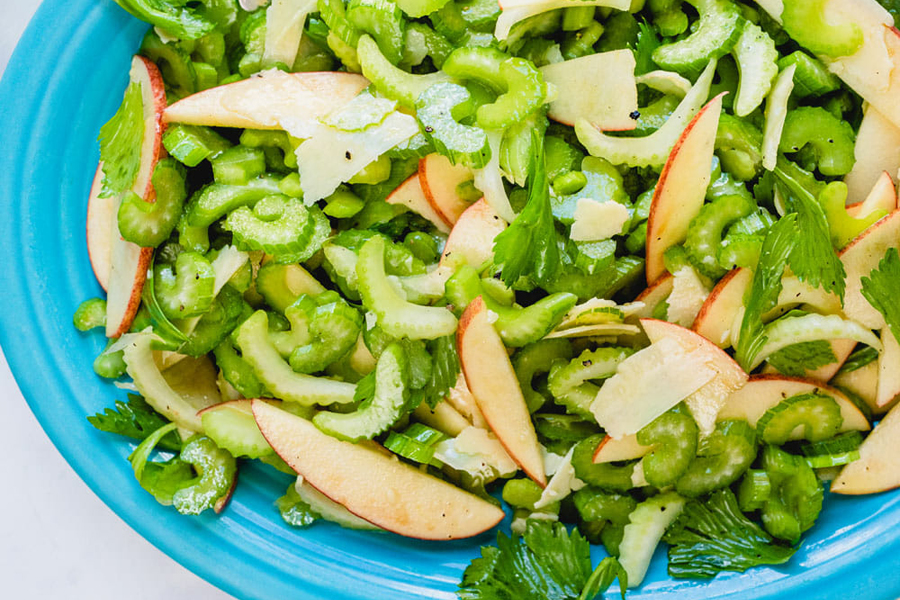 celery salad with parmesan cheese and apples