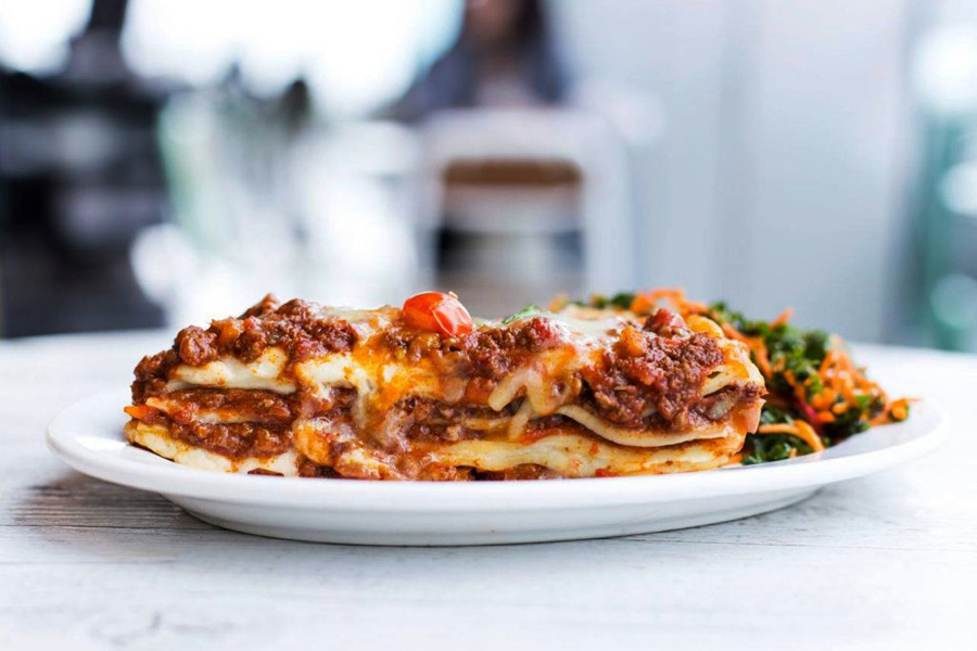 lasagna slice on white plate