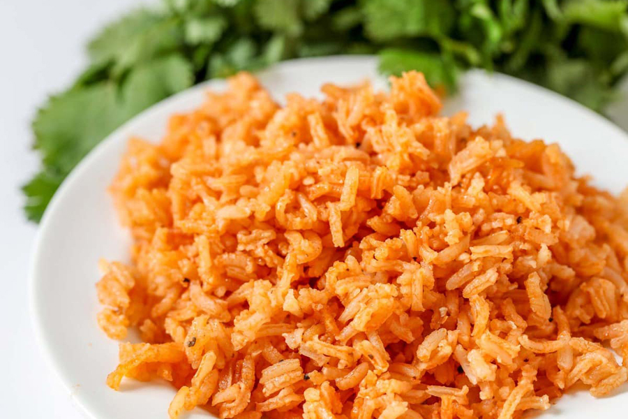 Restaurant-Style Spanish Rice (aka Mexican Rice) on plate