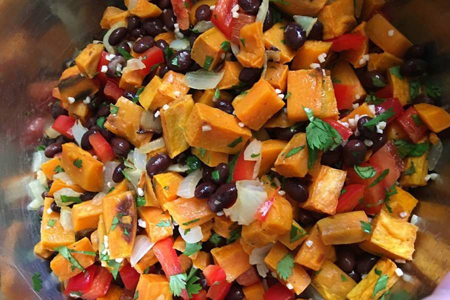 Sweet Potato Salad, a great recipe for parties and can be served hot or cold