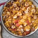 Jambalaya in pot with shrimp and rice
