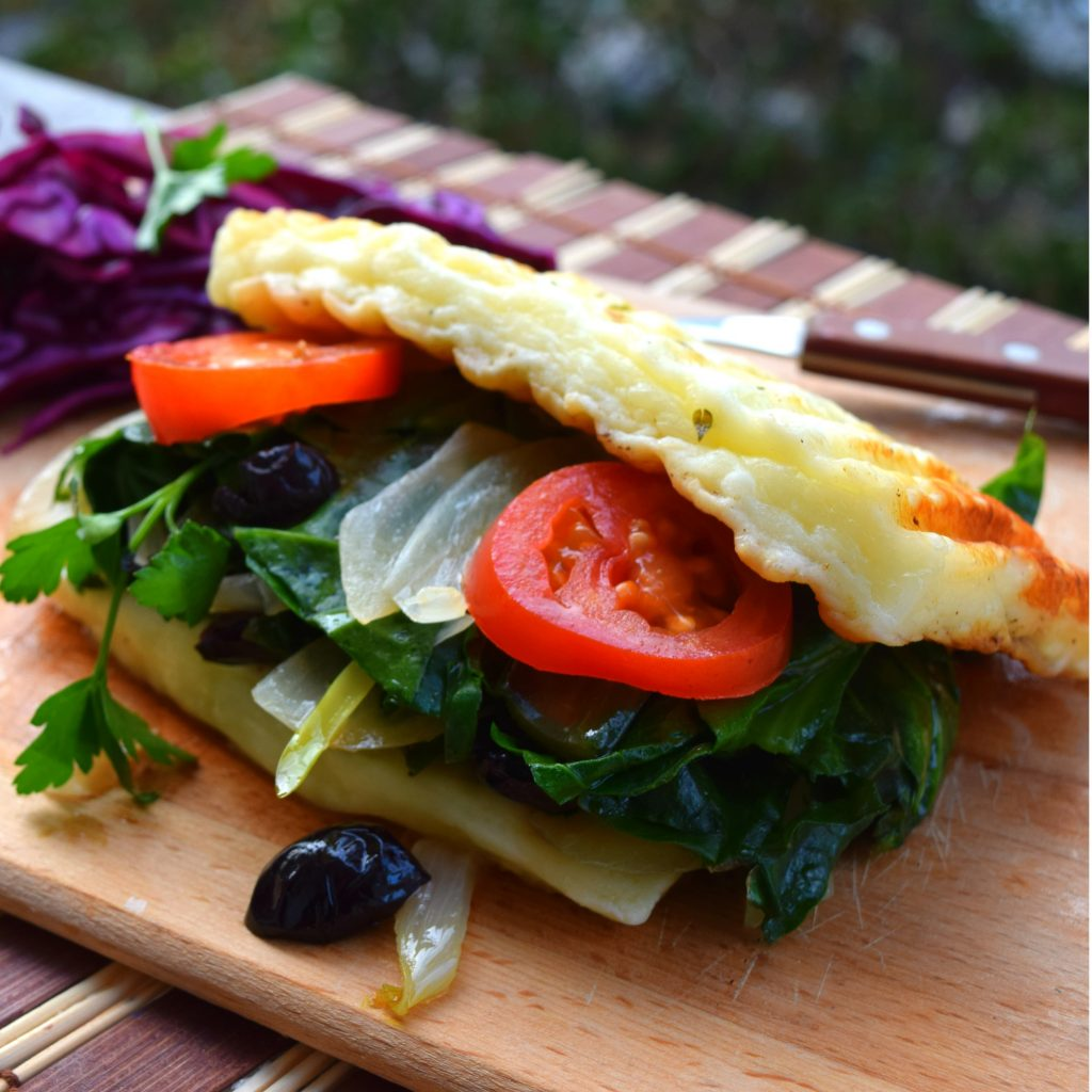 Ketogenic grilled cheese sandwich on wood counter