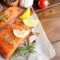 raw salmon fillets with lemon on parchment paper