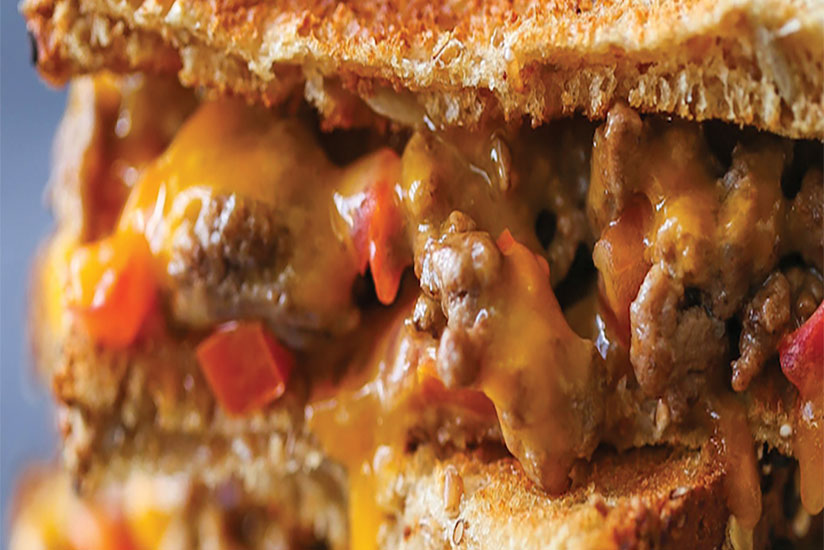 Grilled cheese meatloaf burger with toasted bread