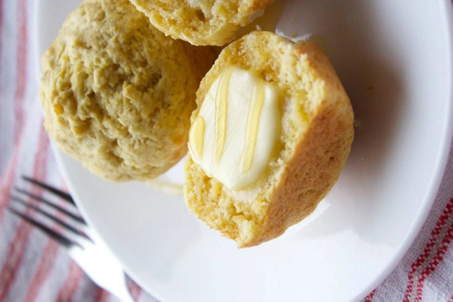 corn bread muffins with butter on plate