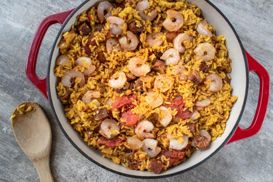 Jambalaya with shrimp and rice in pot