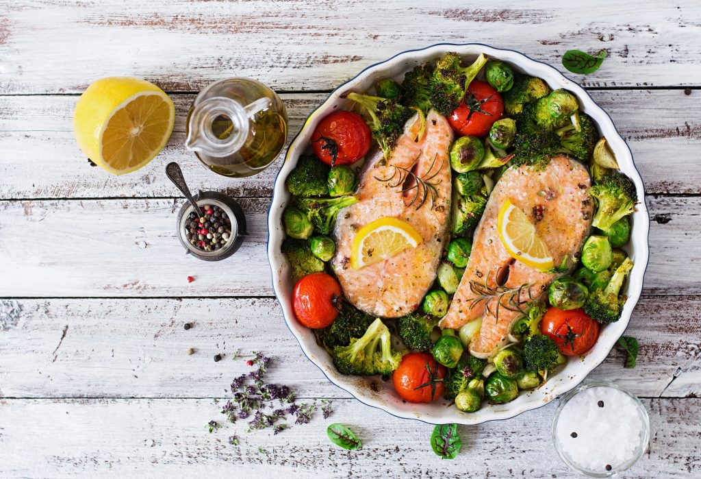 salmon steaks with veggies in bowl