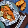 baked salmon in tin foil