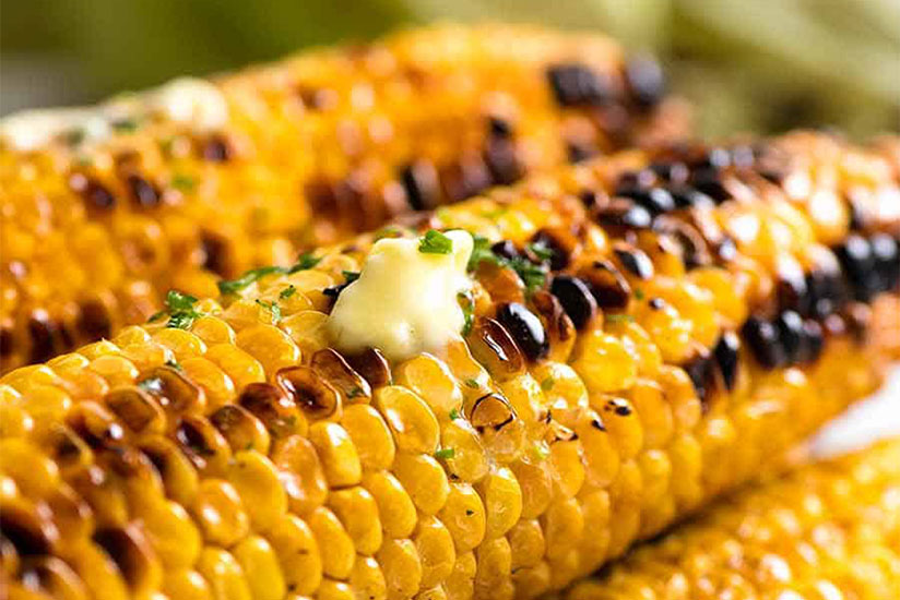 Grilled corn on the cob topped with butter on green background