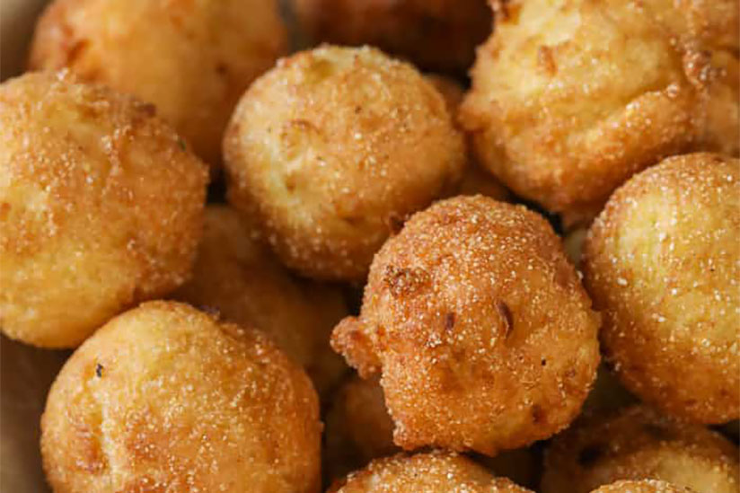 Pile of deep-fried bite-sized hush puppies