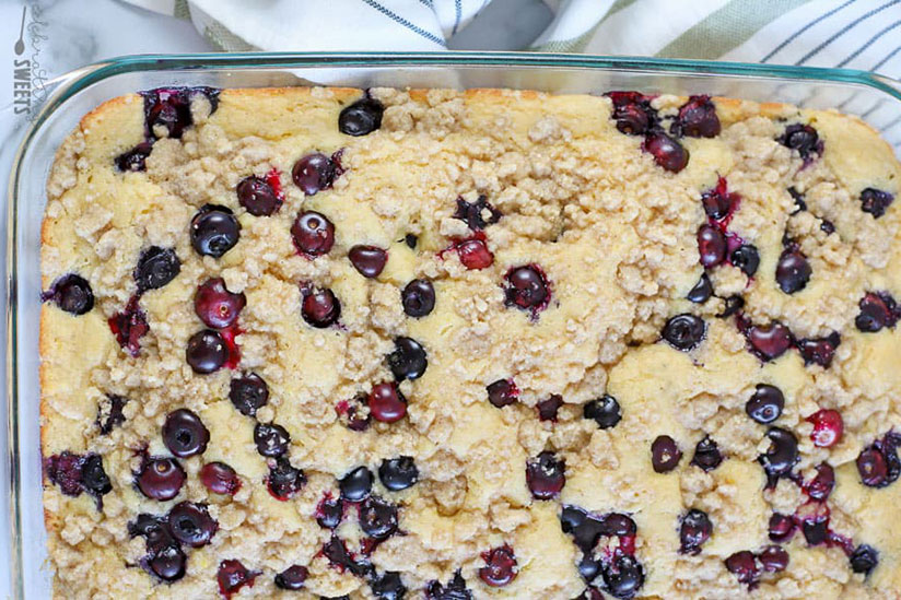Blueberry pancake casserole in clear dish on counter