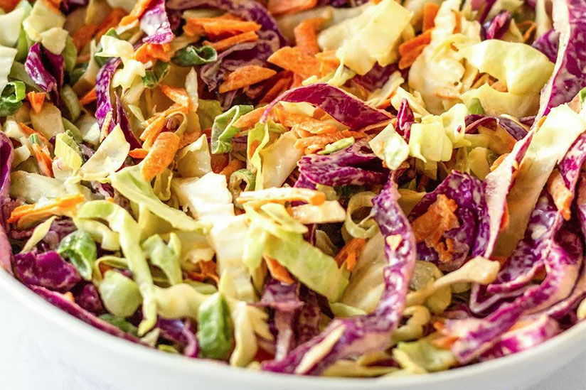 Classic coleslaw in white bowl