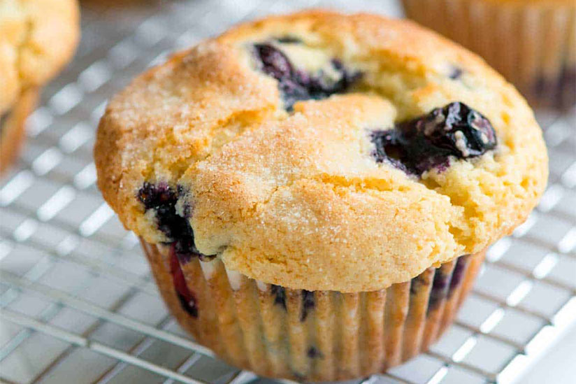 Blueberry muffin on cooling rack on white counter