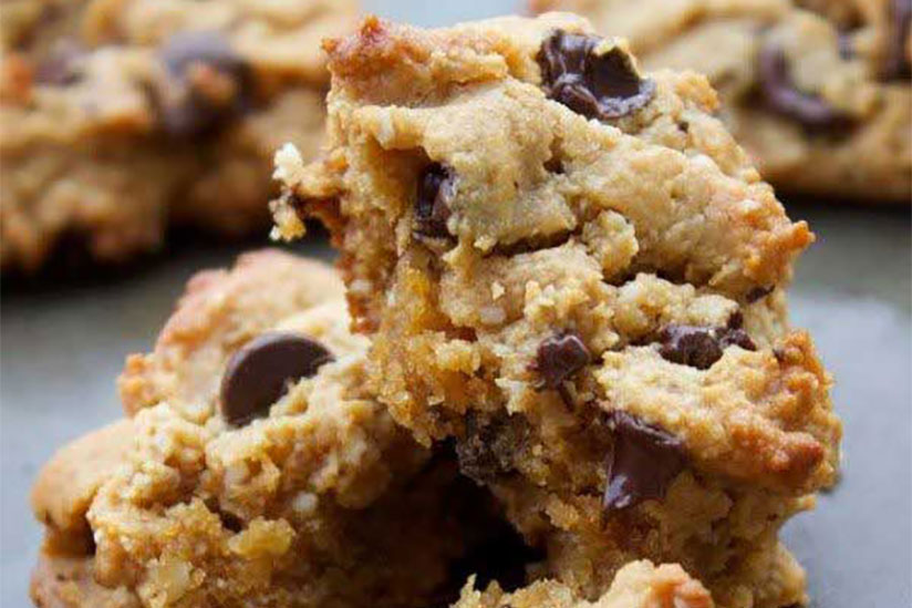 chocolate chip paleo cookie on tray