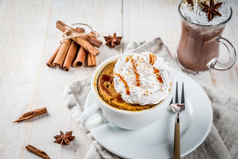 Spicy pumpkin mug cake topped with whipped cream on counter