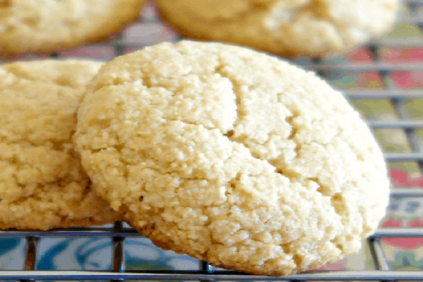 Almond flour cookies on cooling rack on counter