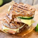 Turkey and brie cheese press sandwich on counter