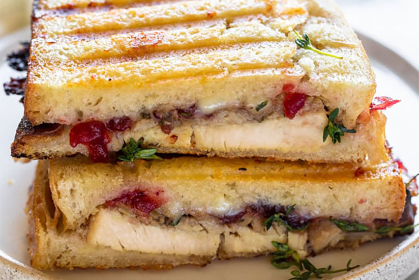 Turkey panini with cranberry sauce and cheese on plate on counter