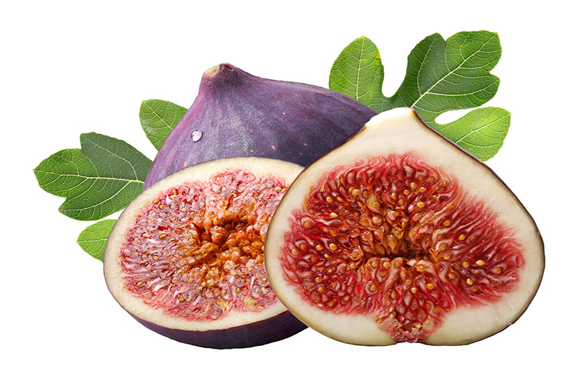 Desert king fig fruits with one sliced in half on white background