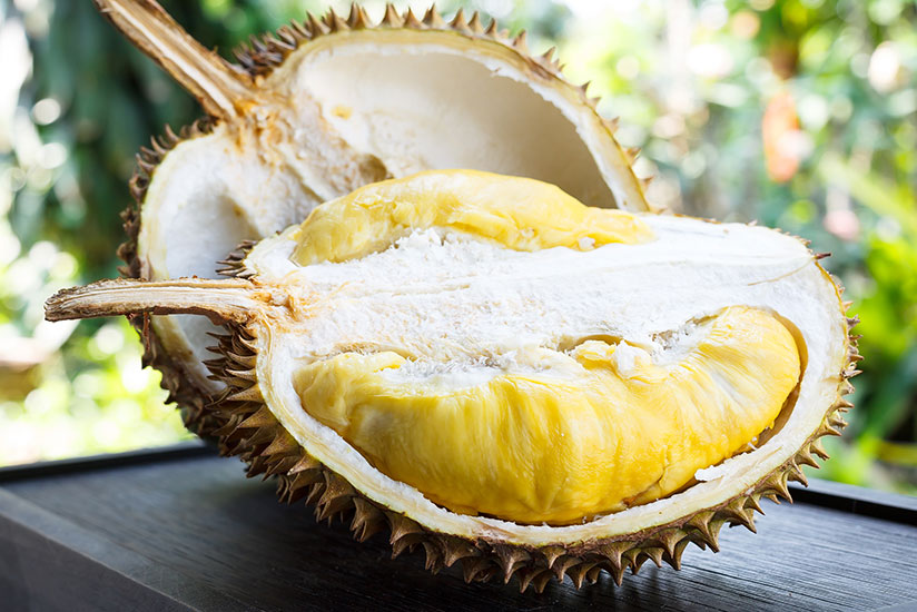 Opened durian fruit on top of dark wood table with nature on background