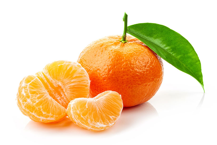 Fairchild tangerines on white background with one already peeled and separated